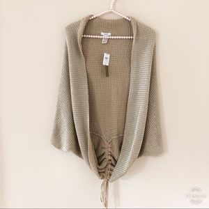 NWT Cache Cardigan Tan With Metallic Threading